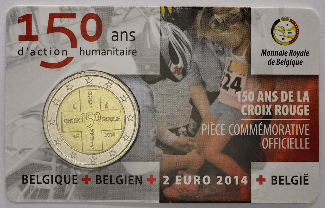 Bild der Rückseite :Belgien - 2 Euro 150 Jahre Rotes Kreuz in Belgien  2014 Stgl.