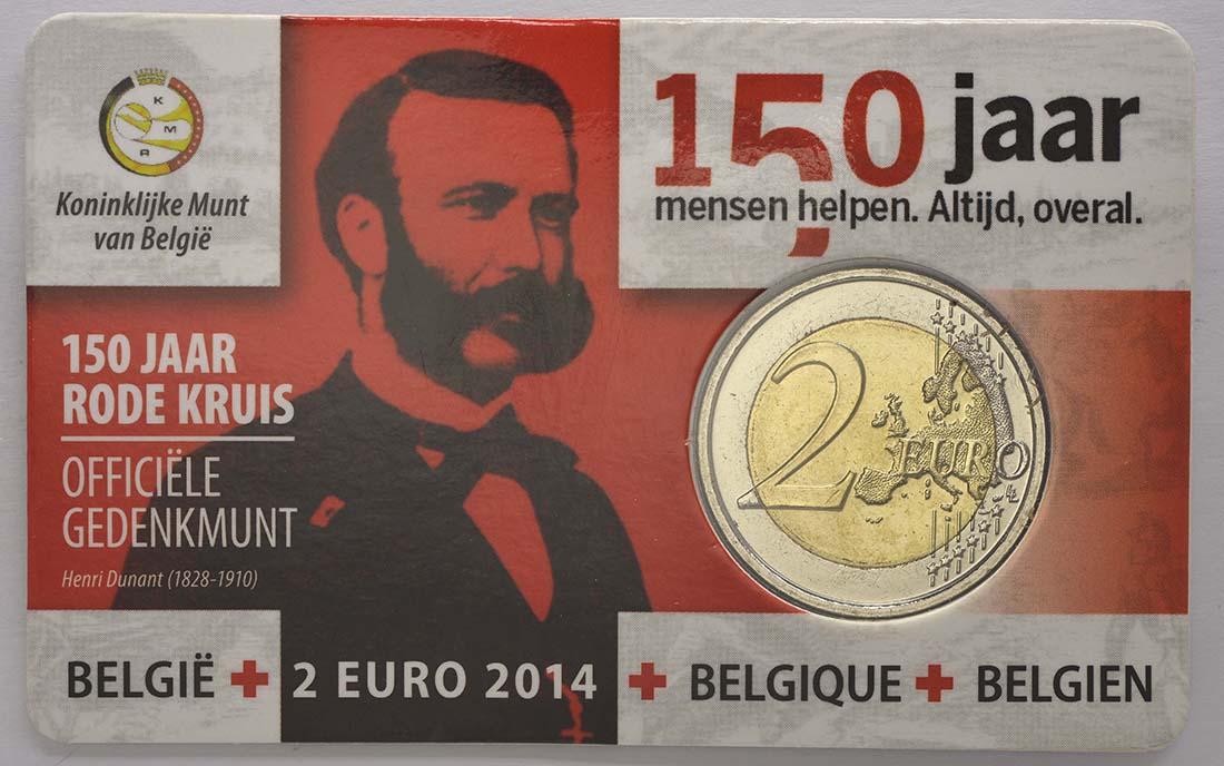 Bild des Lieferumfangs :Belgien - 2 Euro 150 Jahre Rotes Kreuz in Belgien  2014 Stgl.