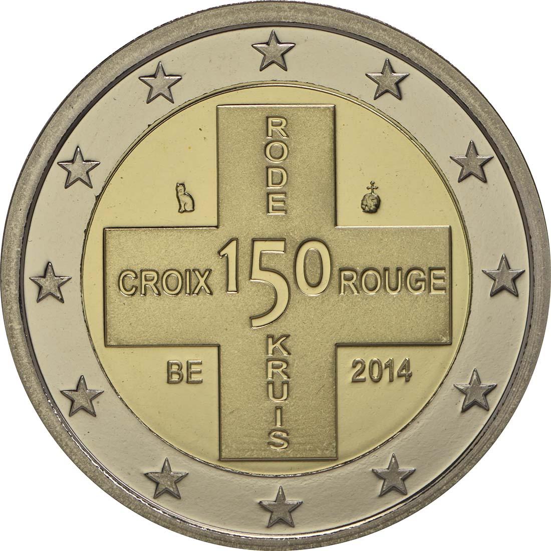 Rückseite :Belgien : 2 Euro 150 Jahre Rotes Kreuz in Belgien  2014 PP