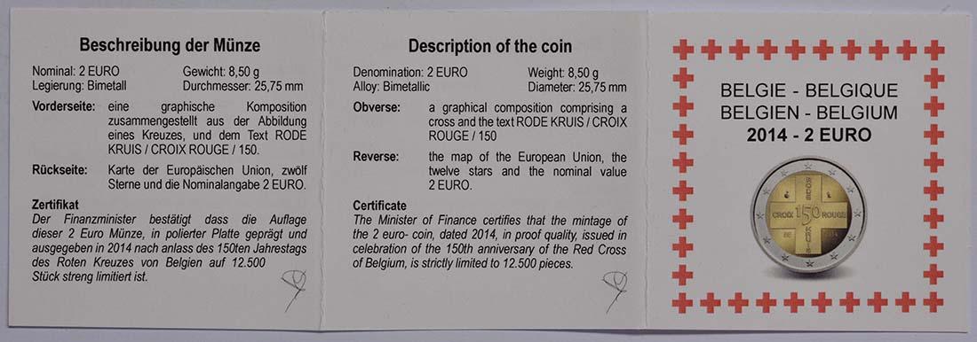 Zertifikat :Belgien : 2 Euro 150 Jahre Rotes Kreuz in Belgien  2014 PP