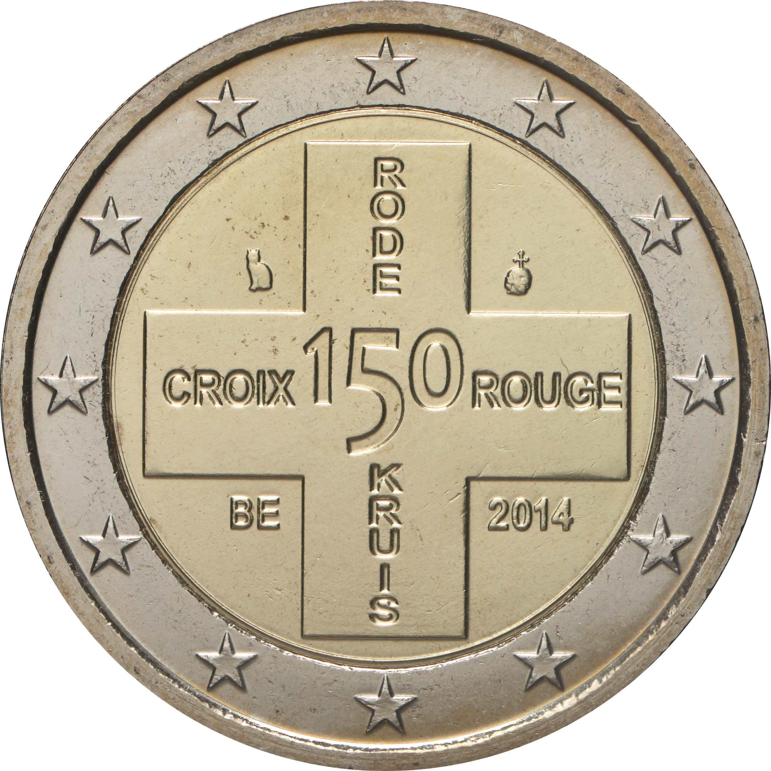 Rückseite:Belgien : 2 Euro 150 Jahre Rotes Kreuz in Belgien  2014 bfr