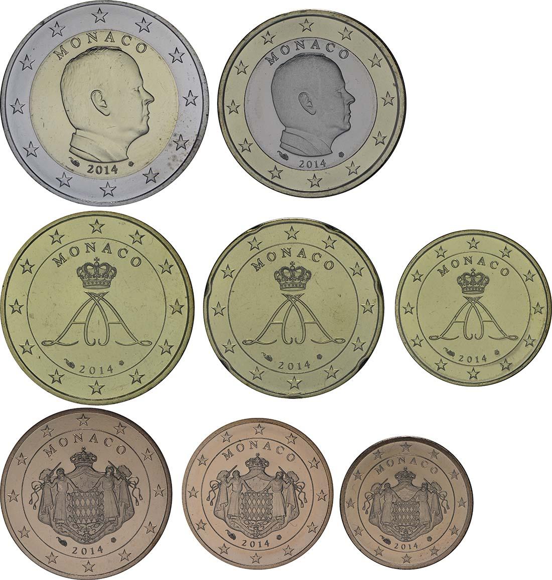 Übersicht:Monaco : 3,88 Euro KMS Monaco 2014 lose 1,2,5,10,20,50 Cent ; 1+2 Euro  2014 bfr