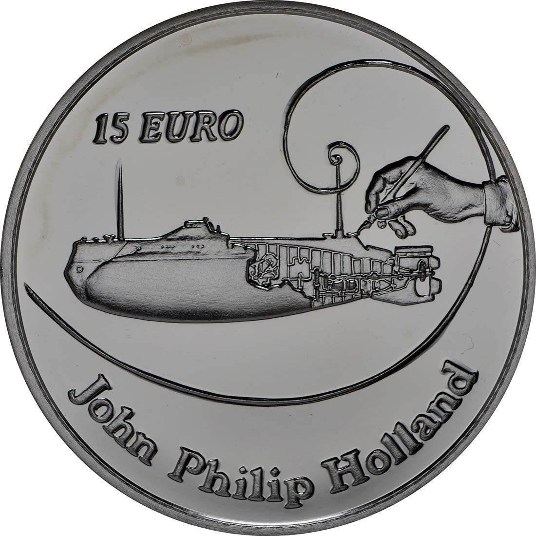 Vorderseite:Irland : 15 Euro John Philipp Holland U-Boot Konstrukteur  2014 PP