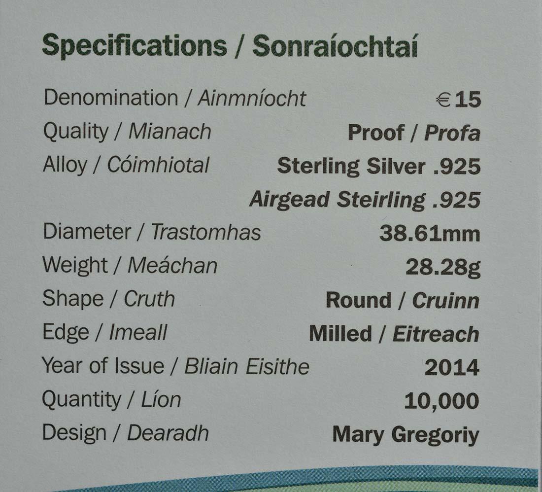 Zertifikat:Irland : 15 Euro John Philipp Holland U-Boot Konstrukteur  2014 PP