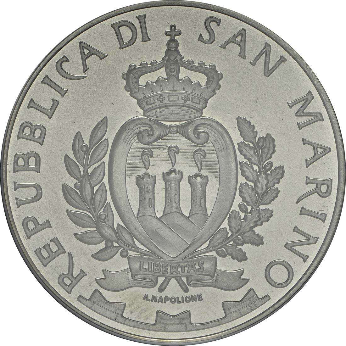 Rückseite:San Marino : 5 Euro 25. Jahre Fall der Berliner Mauer  2014 Stgl.