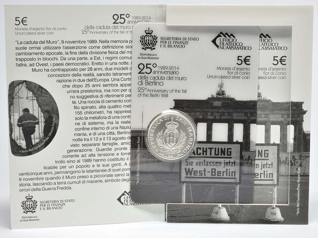 Lieferumfang:San Marino : 5 Euro 25. Jahre Fall der Berliner Mauer  2014 Stgl.