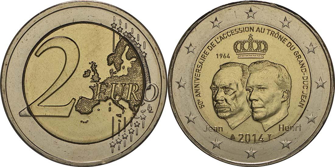 Luxemburg : 2 Euro 50 Jahre Thronbesteigung Großherzog Jean  2014 bfr