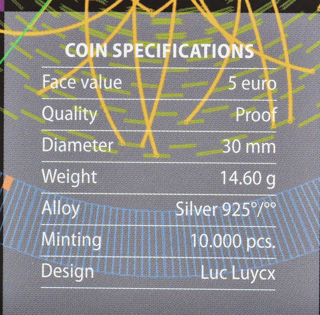 Zertifikat:Belgien : 5 Euro Higgs Teilchen  2014 PP