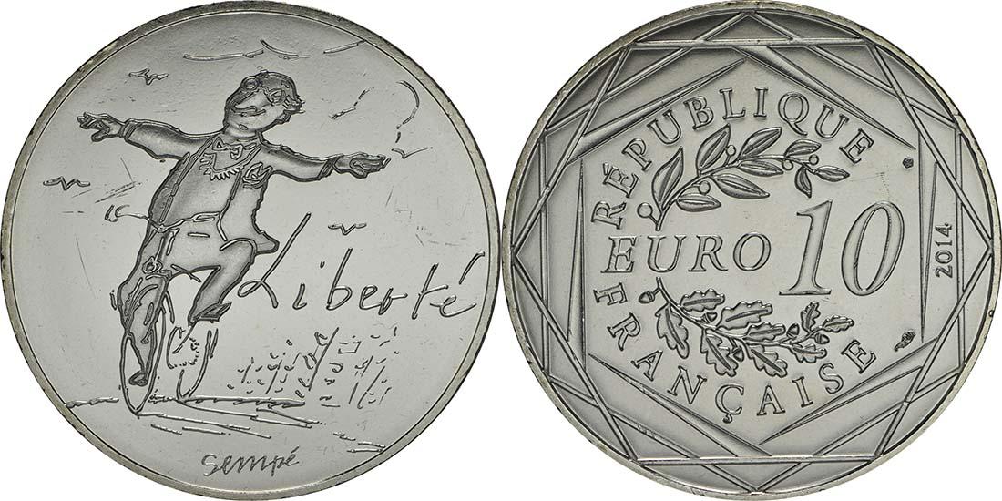 Lieferumfang:Frankreich : 10 Euro Frühling Liberté  2014 bfr