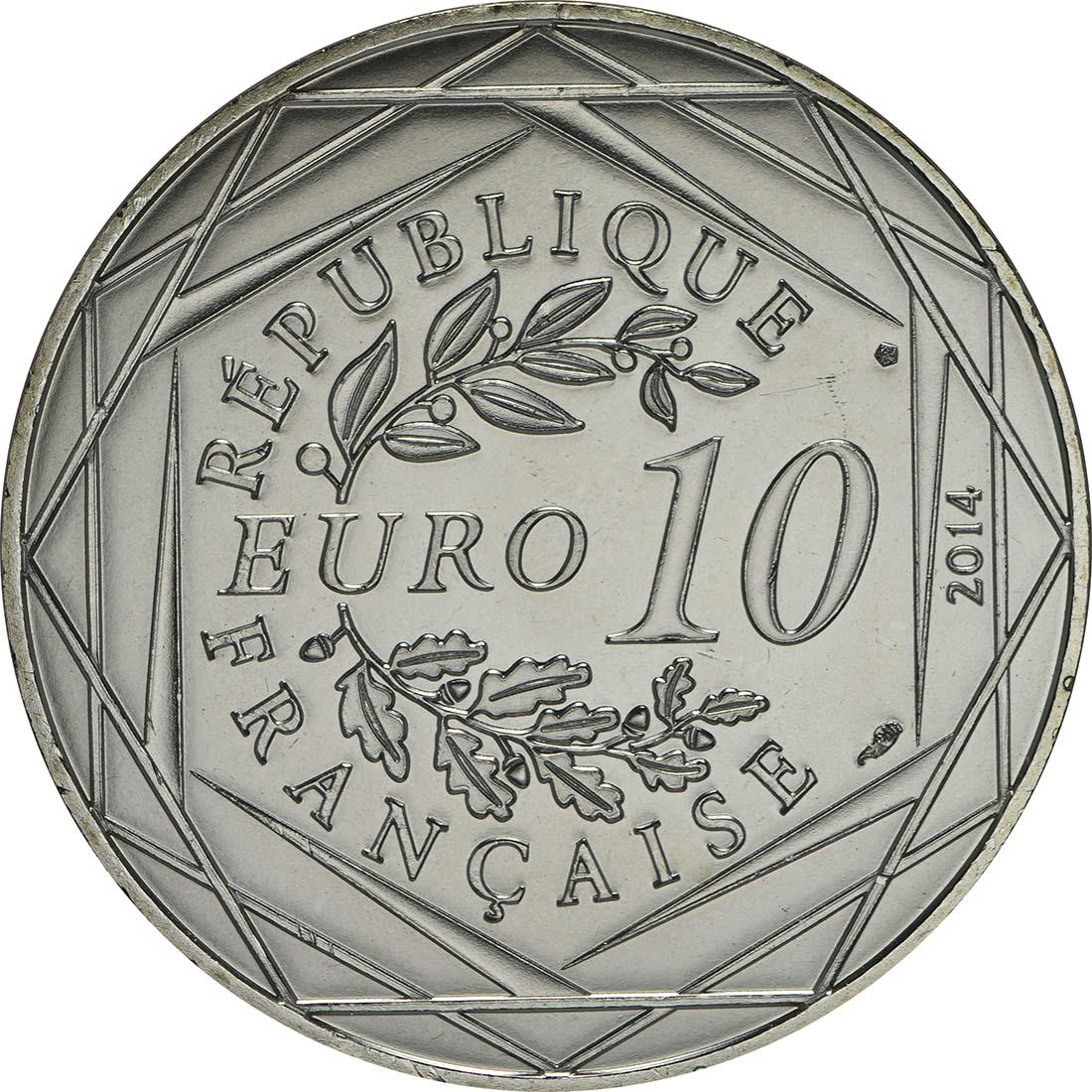 Rückseite:Frankreich : 10 Euro Winter Egalité  2014 bfr