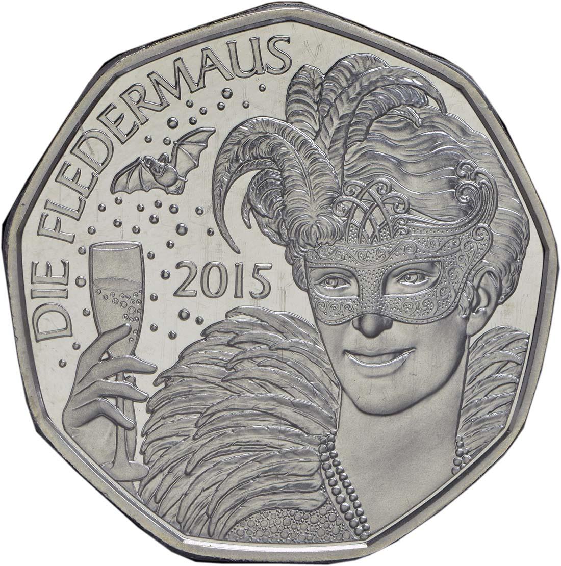 Vorderseite:Österreich : 5 Euro Neujahr: Die Fledermaus  2015 Stgl.