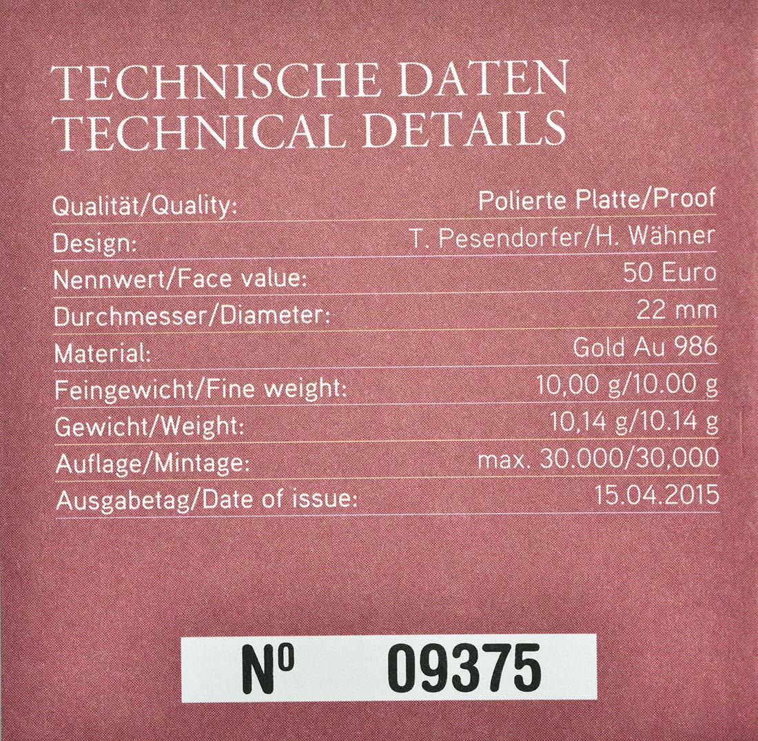 Zertifikat:Österreich : 50 Euro Medizin  2015 PP