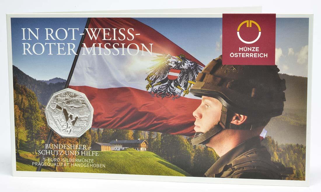 Lieferumfang:Österreich : 5 Euro Bundesheer - Schutz und Hilfe  2015 Stgl.