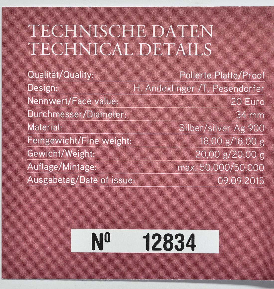 Zertifikat:Österreich : 20 Euro Mozart das Wunderkind  2015 PP