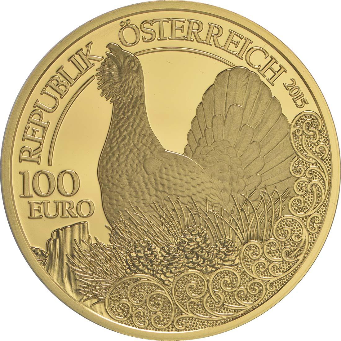 Rückseite:Österreich : 100 Euro Auerhahn  2015 PP