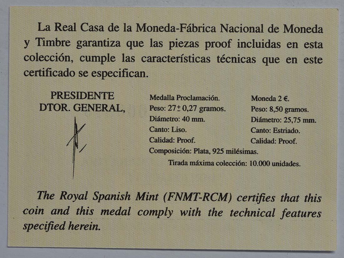 Zertifikat :Spanien : 2 Euro König Felipe VI. + Medaille  2014 PP