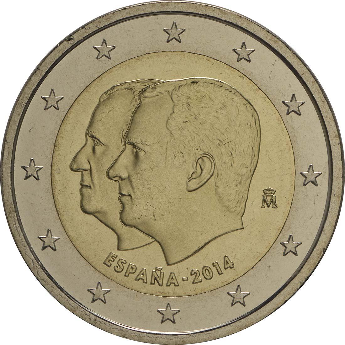 Rückseite:Spanien : 2 Euro König Felipe VI.  2014 bfr