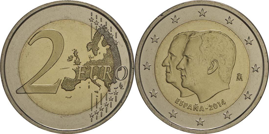 Lieferumfang:Spanien : 2 Euro König Felipe VI.  2014 bfr
