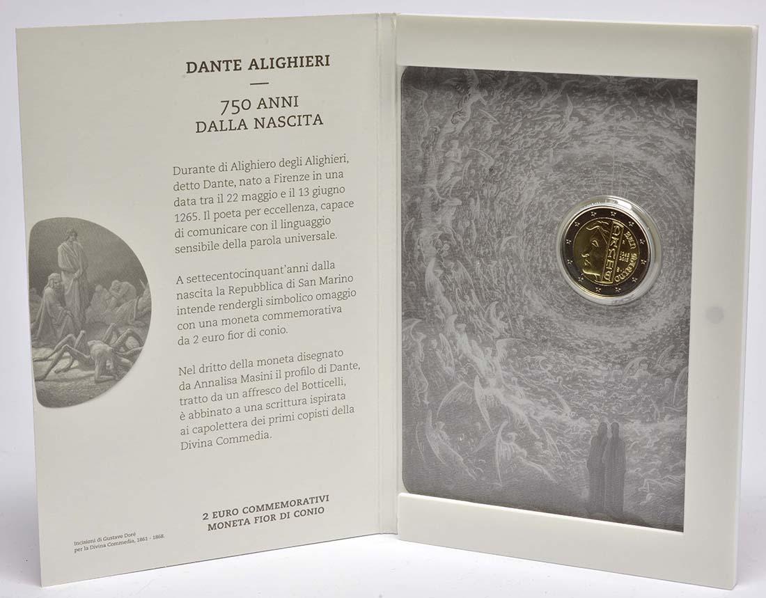 San Marino : 2 Euro 750. Jahrestag der Geburt von Dante Alighieri  2015 Stgl.