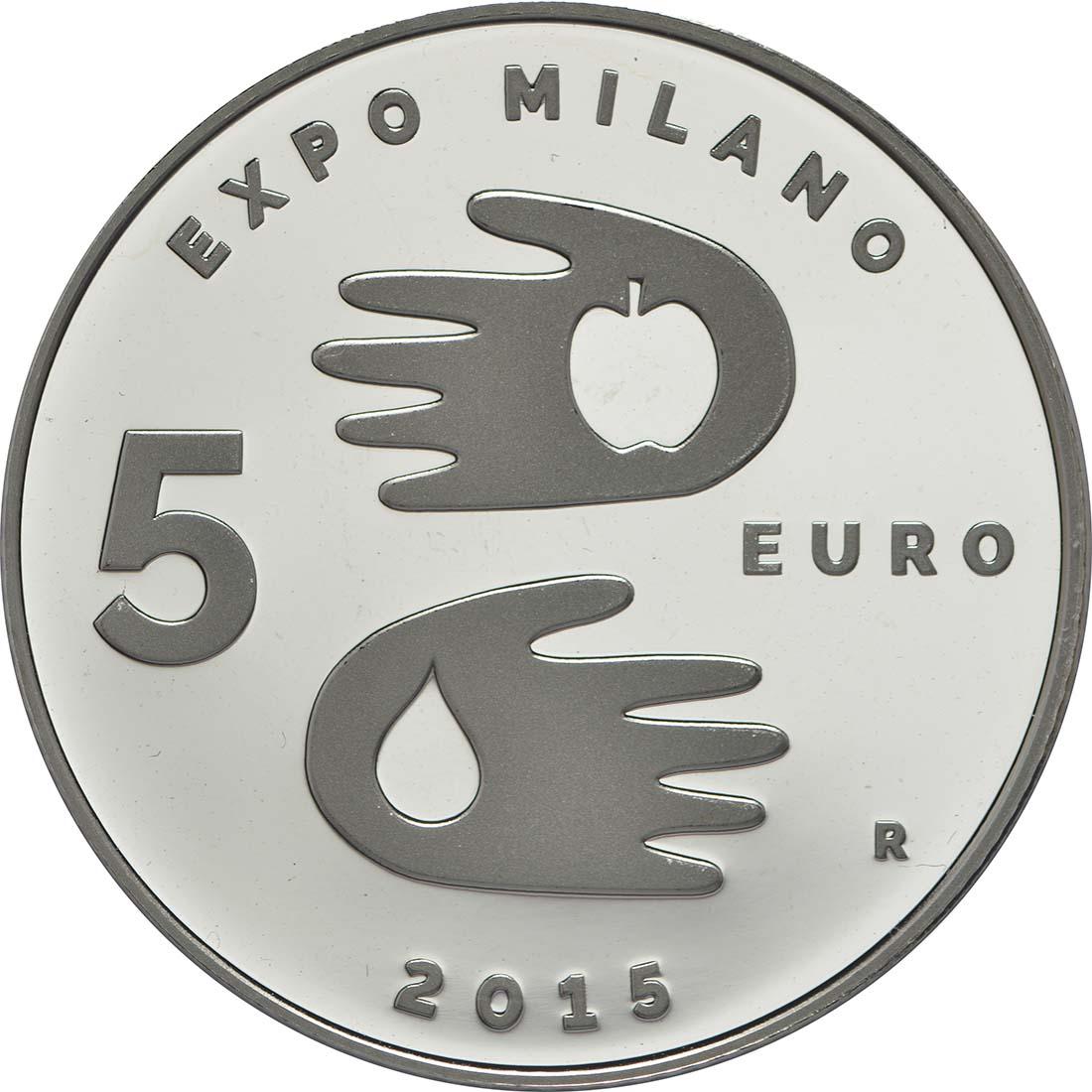 Vorderseite:San Marino : 5 Euro Expo Mailand 2015  2015 PP