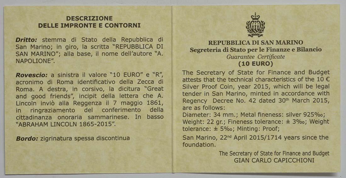 Zertifikat:San Marino : 10 Euro 150. Jahrestag des Todes von Abraham Lincoln  2015 PP