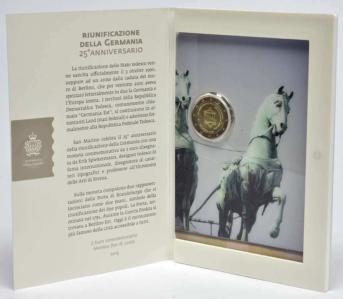 Lieferumfang:San Marino : 2 Euro 25. Jahrestag der Wiedervereinigung Deutschland  2015 Stgl.