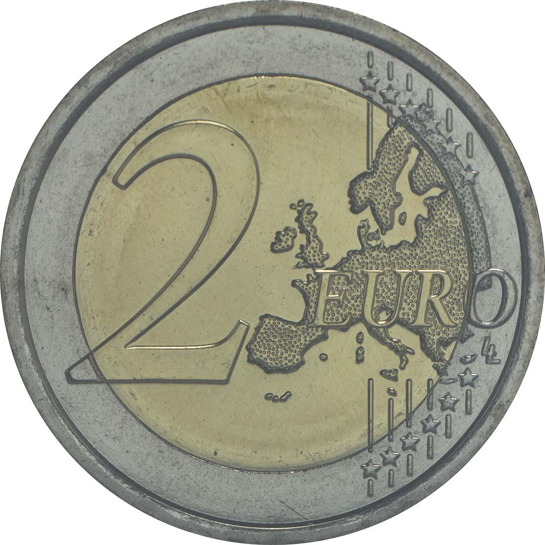 Vorderseite:San Marino : 2 Euro 25. Jahrestag der Wiedervereinigung Deutschland  2015 Stgl.