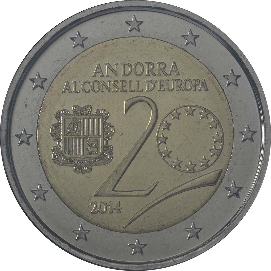Rückseite:Andorra : 2 Euro 20 Jahre Mitgliedschaft von Andorra im Europarat  2014 bfr