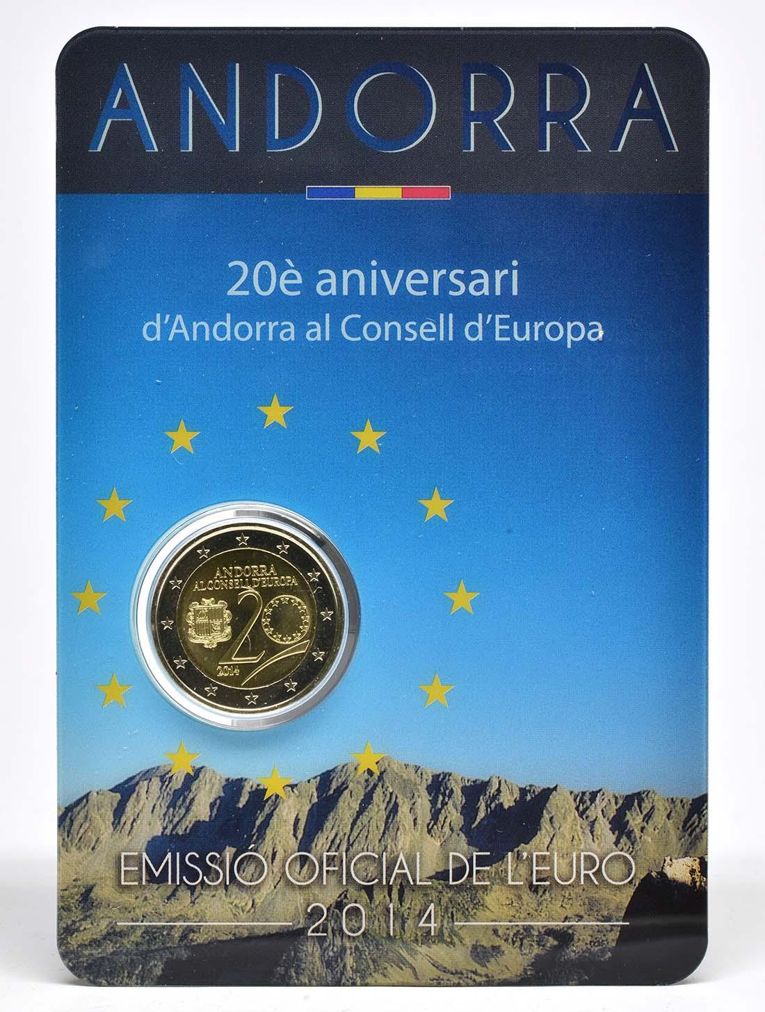 Lieferumfang:Andorra : 2 Euro 20 Jahre Mitgliedschaft von Andorra im Europarat  2014 bfr