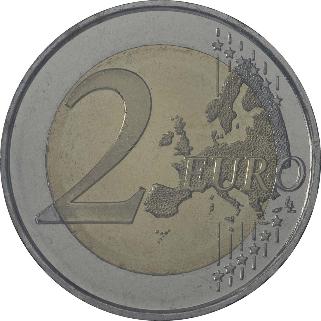Vorderseite:Andorra : 2 Euro 20 Jahre Mitgliedschaft von Andorra im Europarat  2014 bfr
