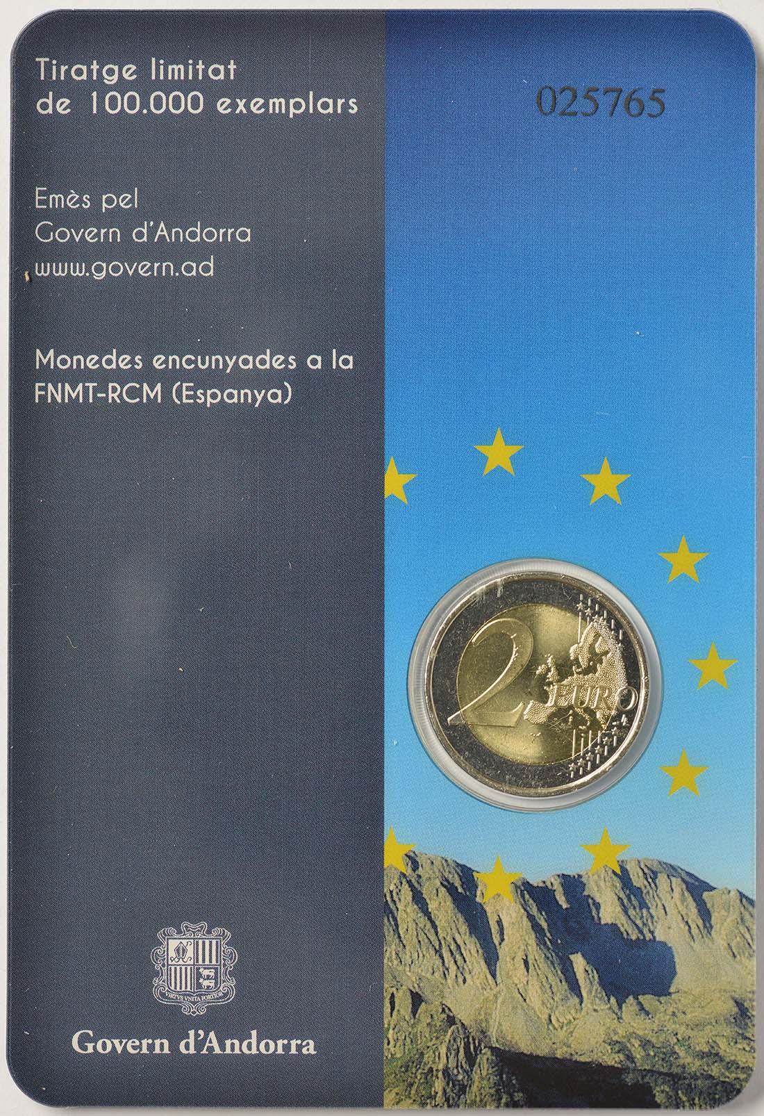 Zertifikat:Andorra : 2 Euro 20 Jahre Mitgliedschaft von Andorra im Europarat  2014 bfr