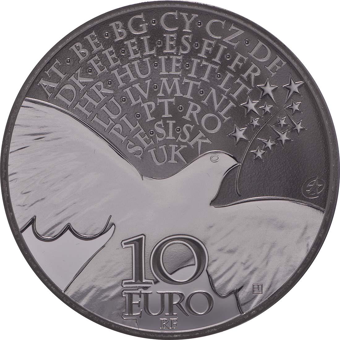 Vorderseite:Frankreich : 10 Euro Frieden in Europa  2015 PP