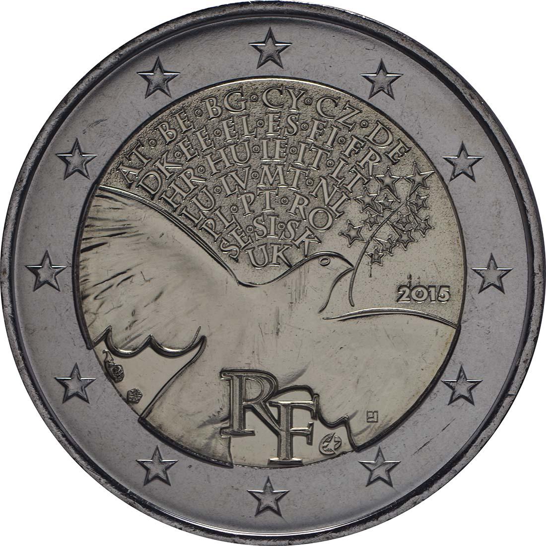 Rückseite:Frankreich : 2 Euro Frieden in Europa  2015 bfr
