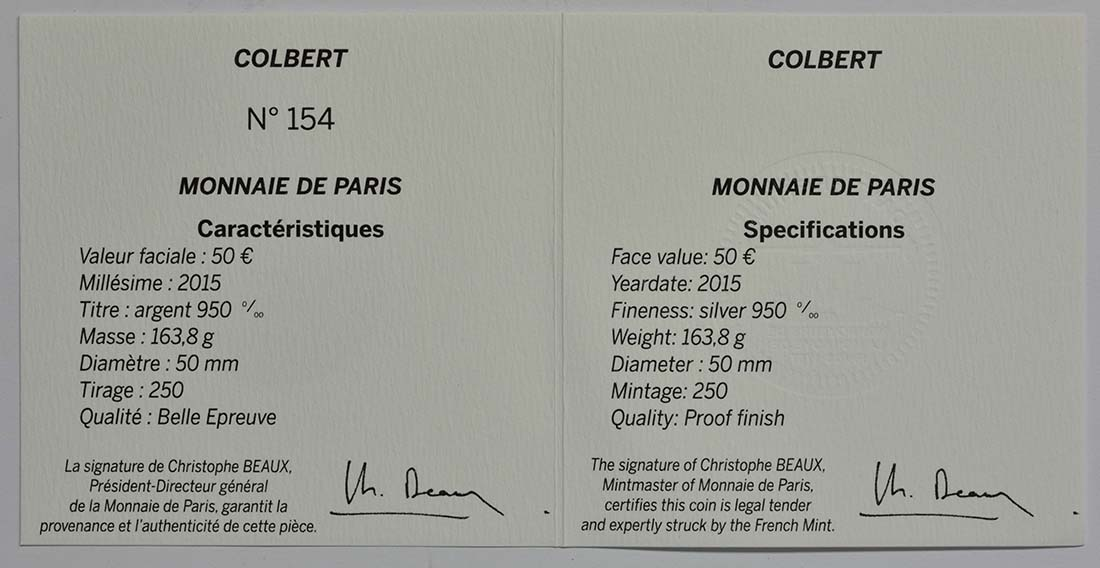 Zertifikat:Frankreich : 50 Euro Le Colbert  2015 PP