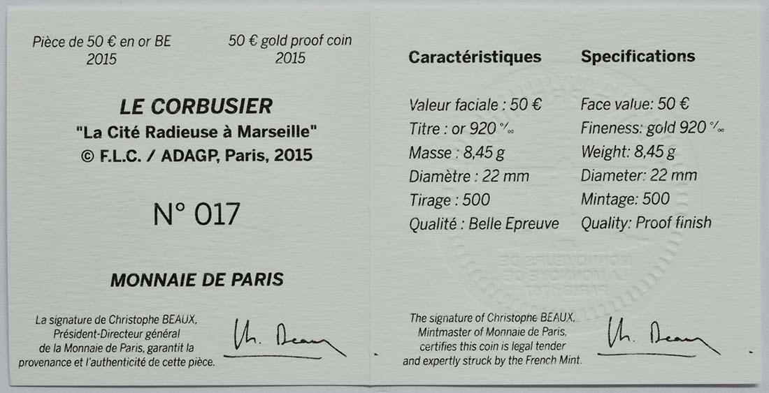 Zertifikat:Frankreich : 50 Euro Le Corbusier  2015 PP
