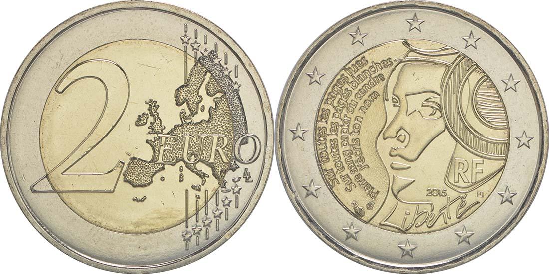 Lieferumfang:Frankreich : 2 Euro Föderationsfest  2015 bfr