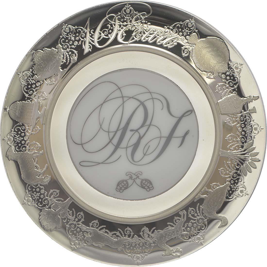 Rückseite:Frankreich : 10 Euro De la Cuisine à l'Assiette - mit Keramikeinlage - Münze gebogen  2015 PP