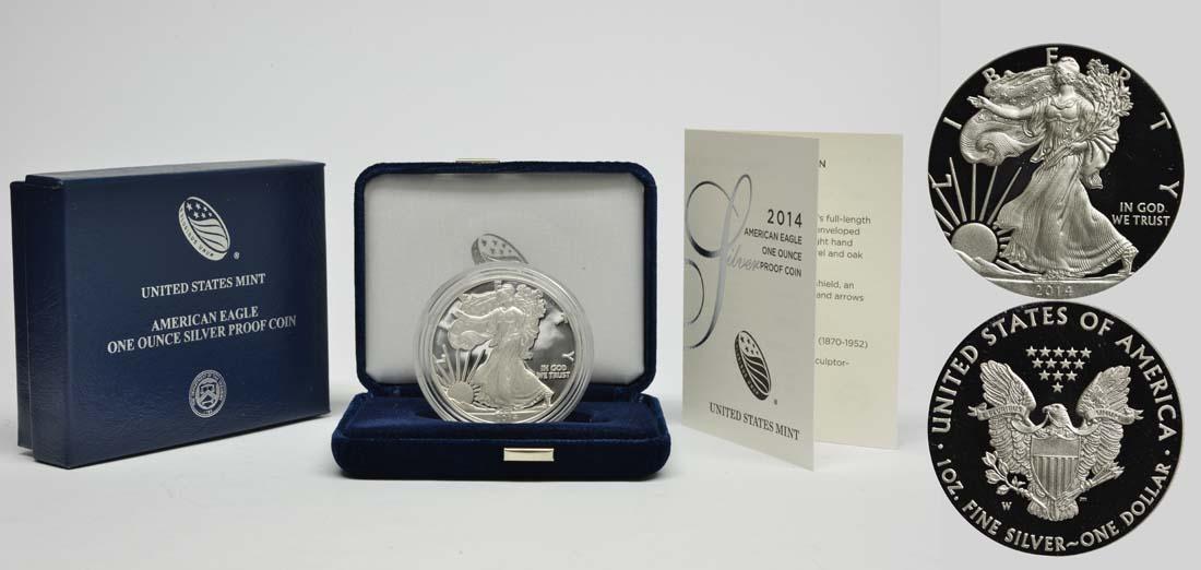 USA : 1 Dollar Silber Eagle 1 oz Polierte Platte  2014 PP