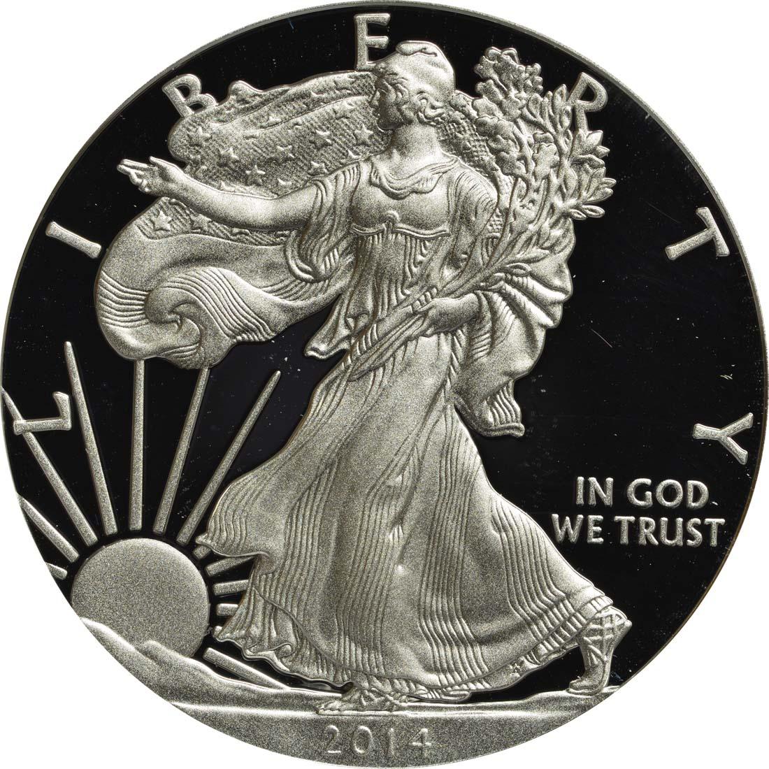 Vorderseite:USA : 1 Dollar Silber Eagle 1 oz Polierte Platte  2014 PP