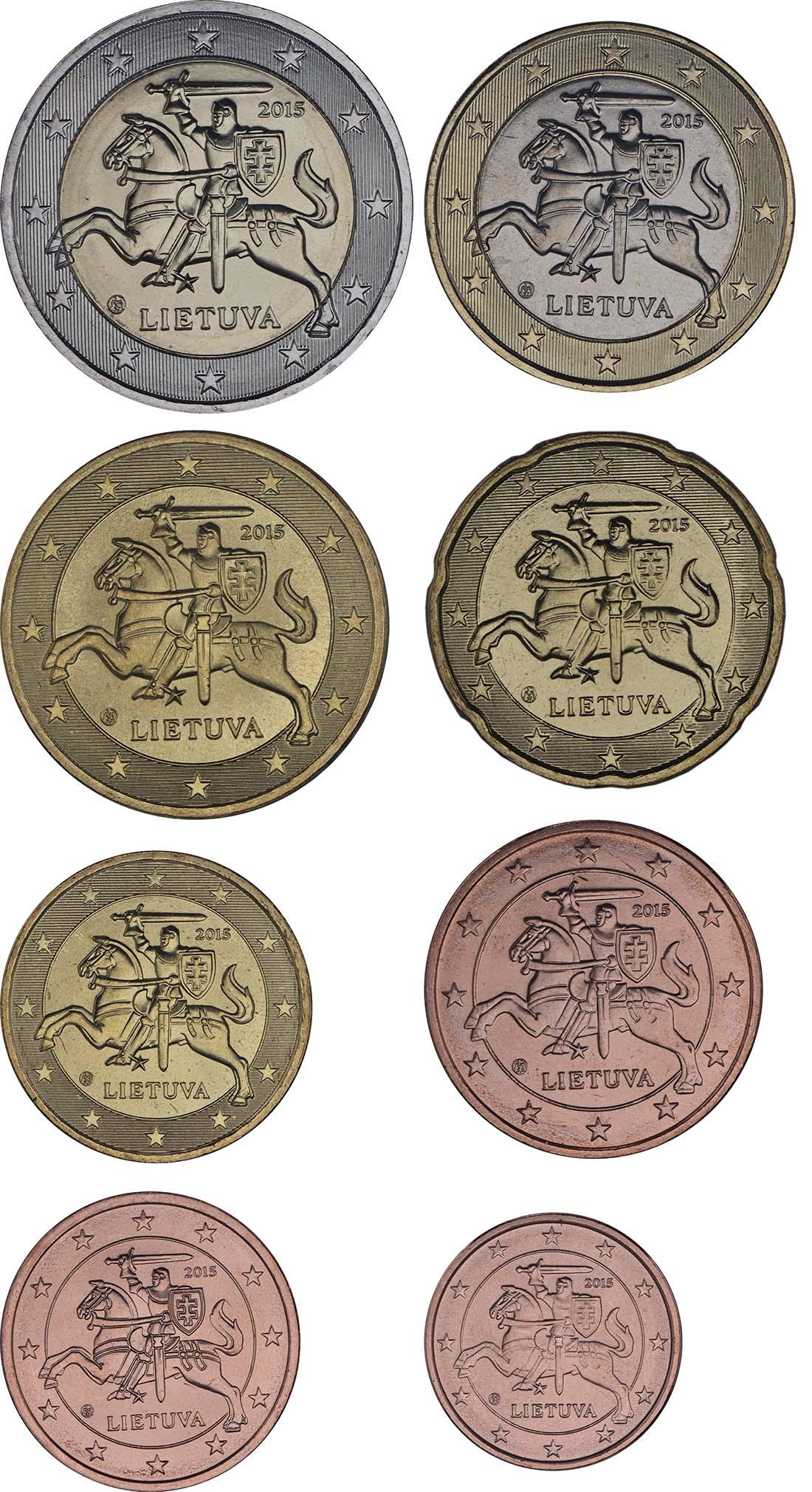 Litauen : 3,88 Euro Set aus 1,2,5,10,20,50 Cent und 1+2 Euro  2015 bfr