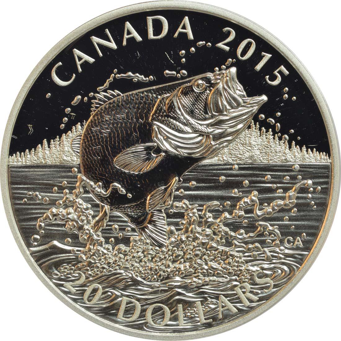 Vorderseite:Kanada : 20 Dollar Nordamerikanische Fischarten - Forellenbarsch  2015 PP