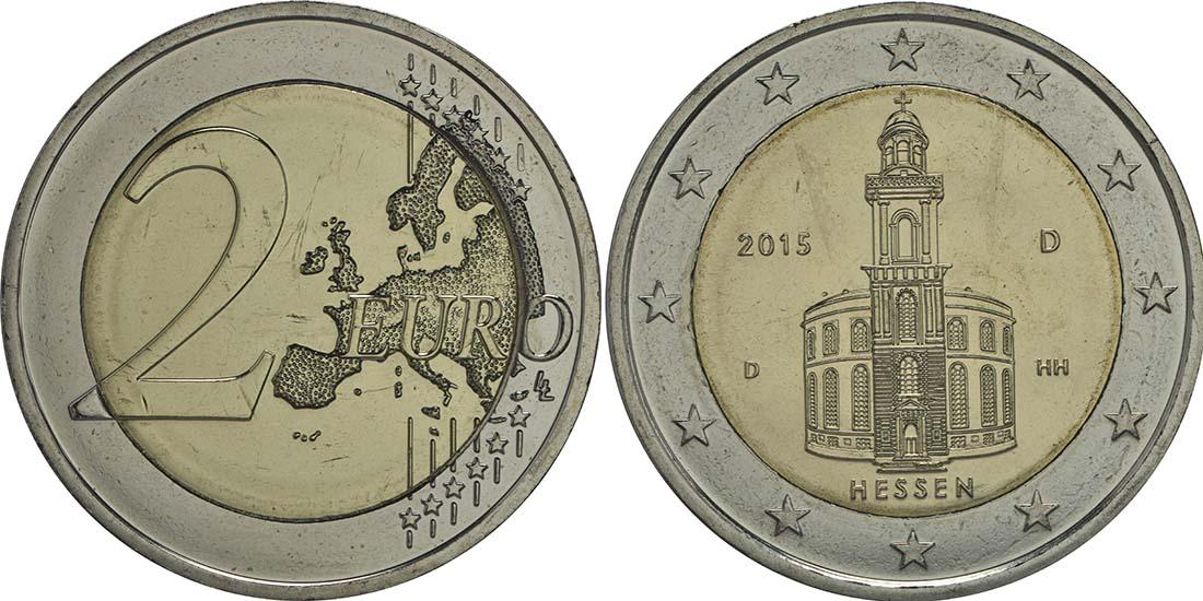 Deutschland 2 Euro Hessen Paulskirche Frankfurt 2015 D Ku Ni Stgl