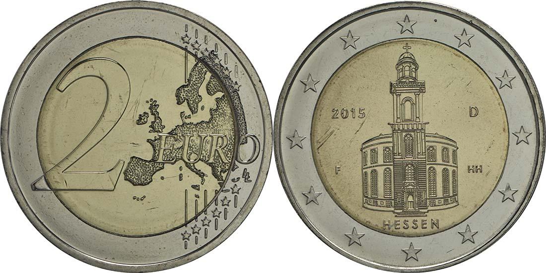 Deutschland : 2 Euro Hessen - Paulskirche Frankfurt  2015 Stgl.