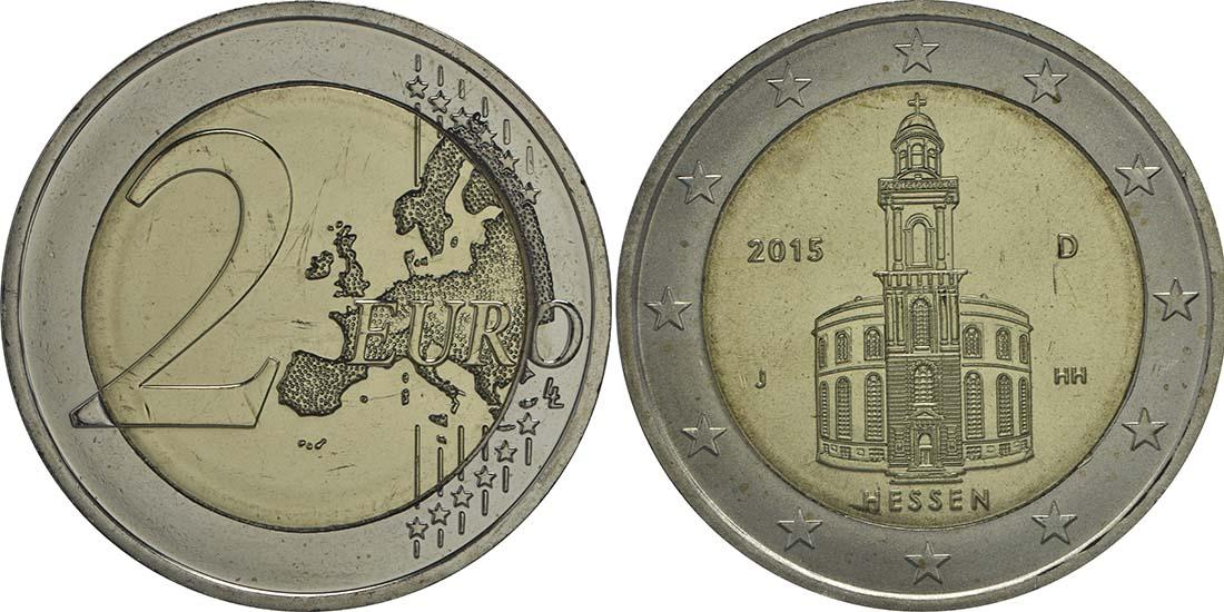Deutschland : 2 Euro Hessen - Paulskirche Frankfurt Buchstabe unserer Wahl  2015 bfr