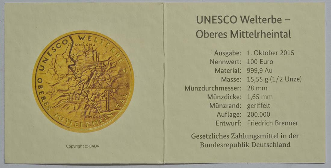 Zertifikat :Deutschland : 100 Euro Oberes Mittelrheintal Buchstabe unserer Wahl  2015 Stgl.