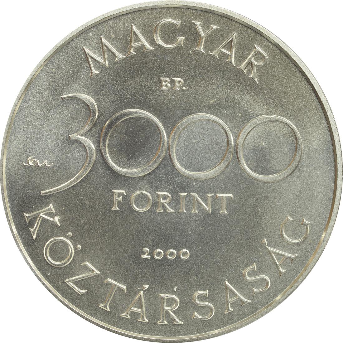 Rückseite:Ungarn : 3000 Forint Biber  2000 Stgl.