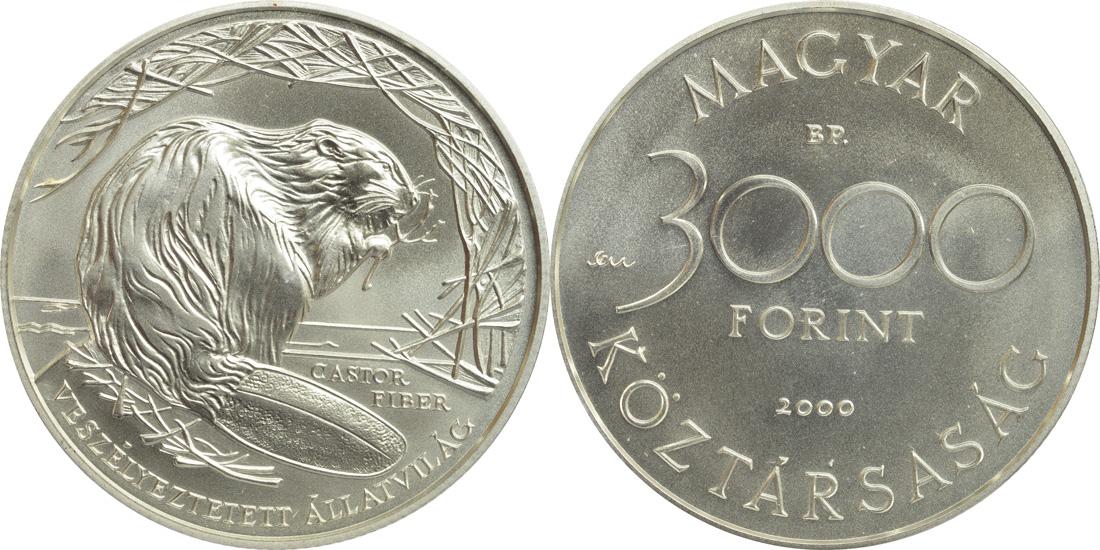 Lieferumfang:Ungarn : 3000 Forint Biber  2000 Stgl.