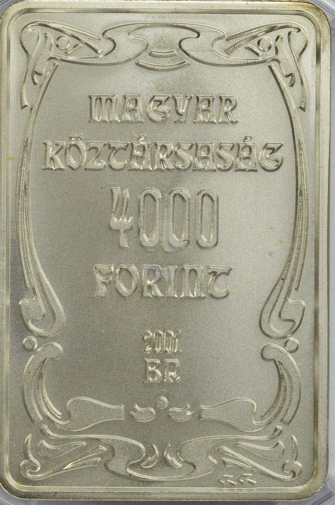 Rückseite:Ungarn : 4000 Forint Schloss Gödöllö (Barrenform)  2001 Stgl.