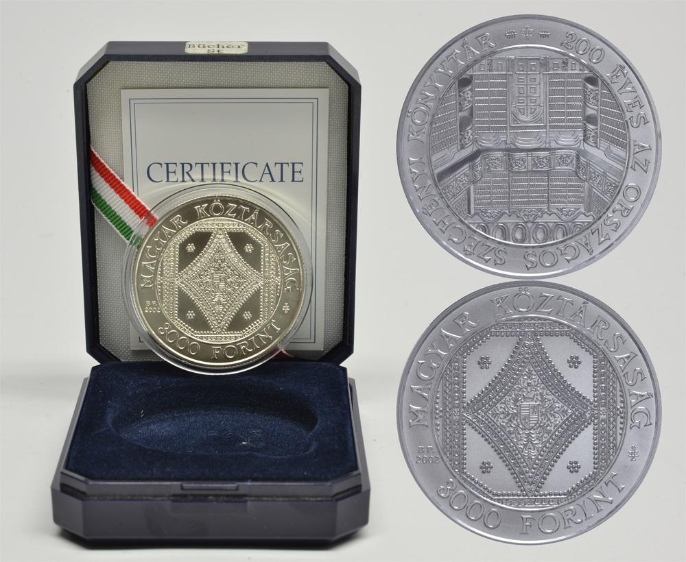 Lieferumfang:Ungarn : 3000 Forint 200 Jahre Nationalbibliothek  2002 Stgl.