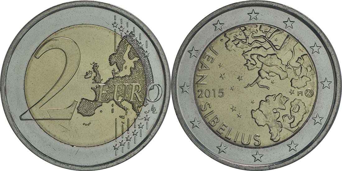 Lieferumfang:Finnland : 2 Euro Jean Sibelius  2015 bfr
